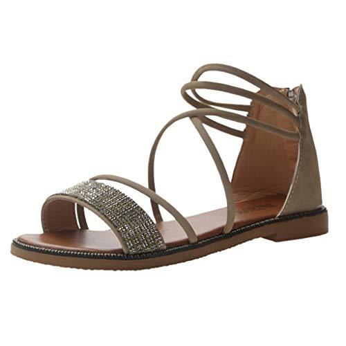 Women Flat Rome Shoes,❤️ FAPIZI Girls Open Toe Diamond Cross Sandals Casual Zipper Ankle Strap Beach Sandals Shoes Khaki