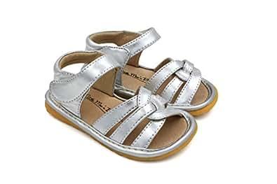 Toddler Girl Sandals | Little Mae's Gleeful Toddler Girl Squeaky Sandals Silver Size: 3 Toddler