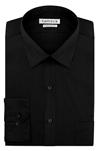 Van Heusen Men's Pincord Regular Fit Solid Spread Collar Dress Shirt, Black, 18