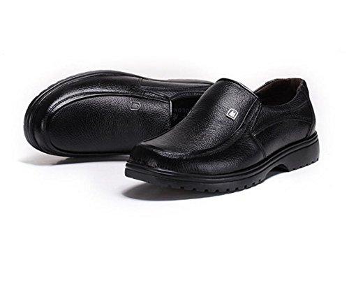 GRRONG Zapatos De Cuero De Los Hombres Del Ocio Del Cuero Genuino De Negocio Black