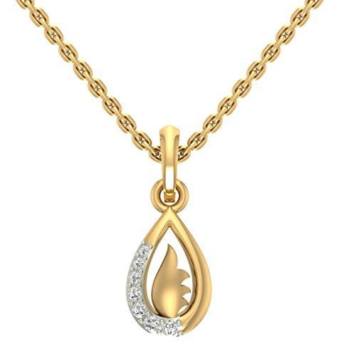 Or jaune 18K 0,07ct tw Round-shape Diamant (IJ | SI) diamant Pendentif