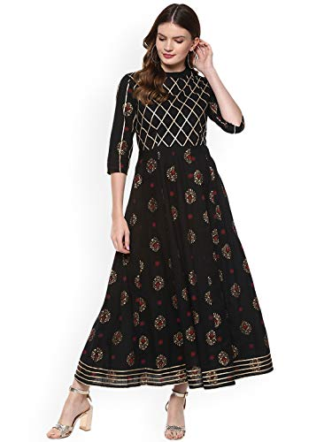 - Women Black & Gold-Coloured Printed Anarkali Kurta By Dream Angel Fashion (Small-34)