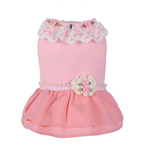 YOTATO Autumn/Winter Lace Flower Dog Dress Cute Pet Clothes for Small Medium Dogs Cats Supplies -