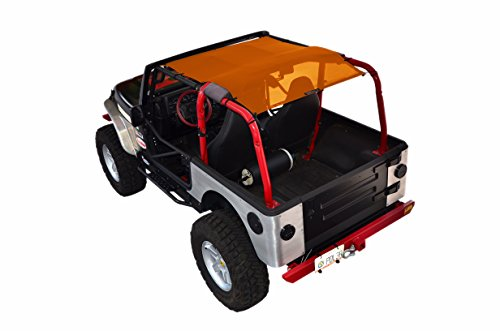 (SPIDERWEBSHADE Jeep Wrangler Mesh Shade Top Sunshade UV Protection Accessory USA Made with 5 Year Warranty for Your TJ (1997-2006) in Orange)