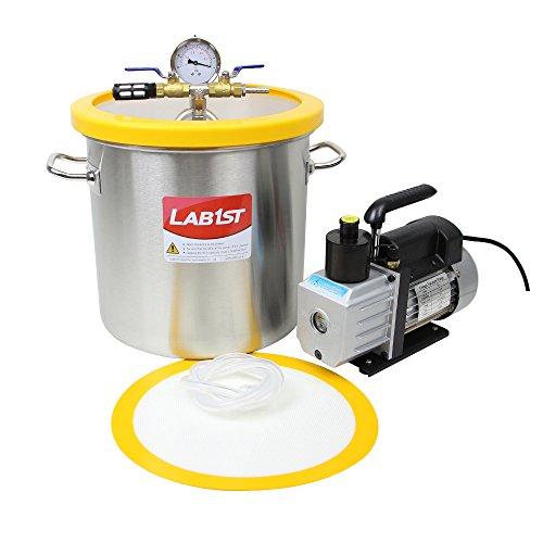 lab1st 5 Gallon Vacuum Degassing Chamber Kit with 3 CFM Pump