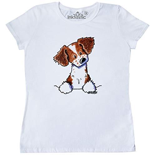(inktastic - Pocket Brittany Spaniel Women's T-Shirt Large White - KiniArt 3d91)
