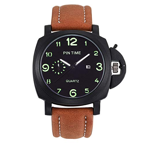 Men's Fashion Sport Maroon Quartz Watch Luminous Scale Square Bezel Matte Leather Strap Analog Wrist Watch