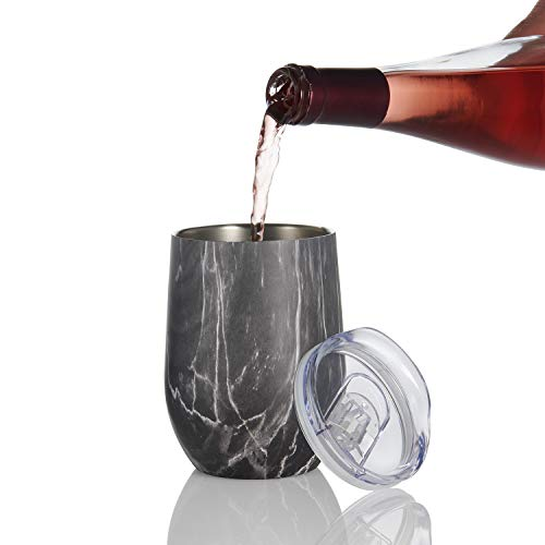 Wine Enthusiast Double Wall Stainless Steel Marble Wine Tumbler - Insulated Stemless Glass, Black