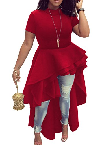 Memorose Womens Ruffle High Low Asymmetrical Short Sleeve Bodycon Tops Blouse Shirt Dress Red L
