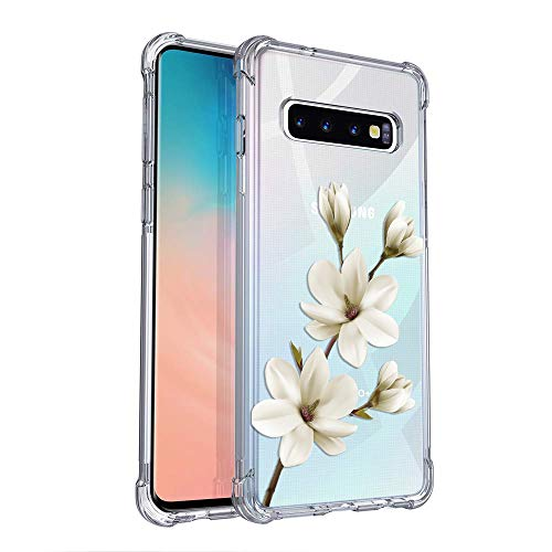 Eouine Samsung Galaxy S10 Plus Case, Crystal Clear Reinforced Corners TPU Floral Flowers Pattern Printed Design Slim Transparent Cover Anti-Scratch Shock Absorption for Samsung Galaxy S10 Plus (3)