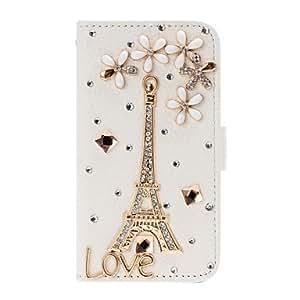 HP- DIY 3D de la torre Eiffel y estuche de cuero Suerte Flores con el soporte para iPhone 4/4S