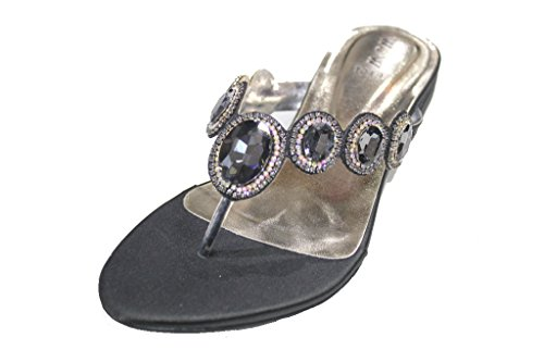 Wear amp;W Walk amp; San Toe Wedding Ladies Party W Evening Flats Black Post Sandals Women Diamante UK 1019 Fashion rIprwdx