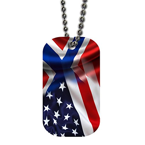 BleuReign(TM) Mixed USA and Norway Flag Single Sided Metal Military ID Dog Tag with Beaded Chain