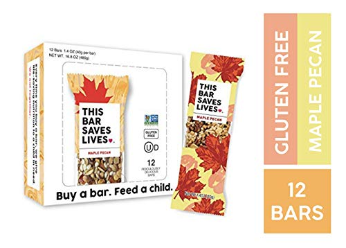 Bar Pecan Maple - Gluten Free Healthy Granola Snack Bar, Maple Pecan, 12 Bars, 1.4 oz; Breakfast Bars by This Saves Lives