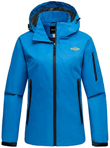 Wantdo Women's Hoodie Front Zip Raincoat Outdoor Windproof Windbreaker Breathable Jacket for Camping Blue (Cycling Womens Zip Hoodie)