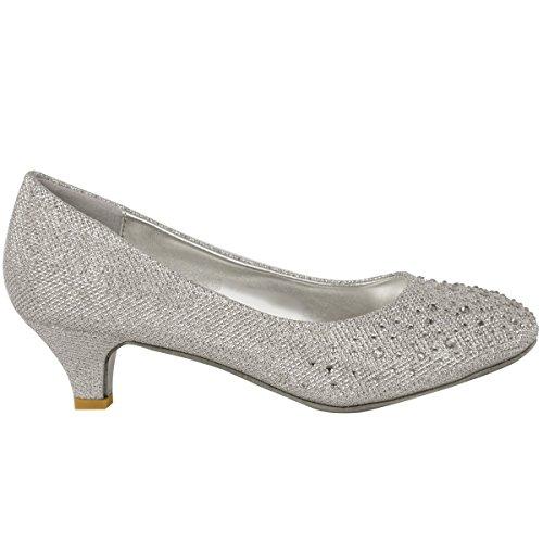 Plateado Abierta Purpurina Diamante con Zapatos Salón Talla Tacón Bajo De Gatito Boda Mujer Puntera Fiesta AOwS8qHW