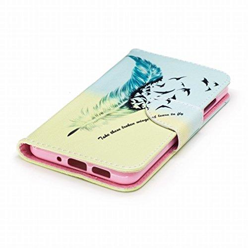 LEMORRY Huawei P10 Lite Custodia Pelle Cuoio Portafoglio Flip Borsa Sottile Bumper Protettivo Magnetico Chiusura Morbido Silicone TPU Case Cover Custodia per Huawei P10 Lite, Feather personalità