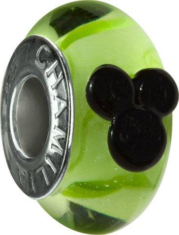 Authentic Chamilia RETIRED Disney Mickey Murano Green Glass Bead * Sterling DISO-2-R