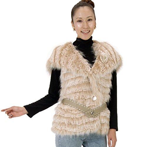 小麦わずらわしいご覧くださいファージレファーベストレッキスラビットラクーンファー編みこみジレ R8026
