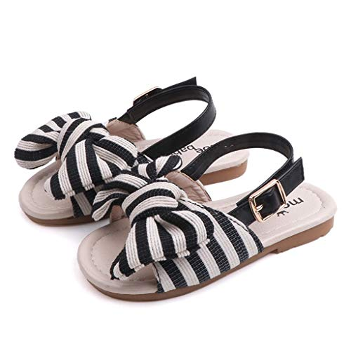 WENSY Wenysysummer Children Baby Baby Girl Striped Bow Sling with Two Wearing Slippers Sandals Casual Shoes Sandals(Black,30)