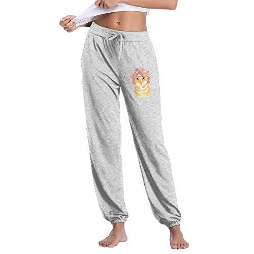 (Orange Tabby Cat Womens Autumn Winter Long Trousers Sports Baggy Sweatpants)