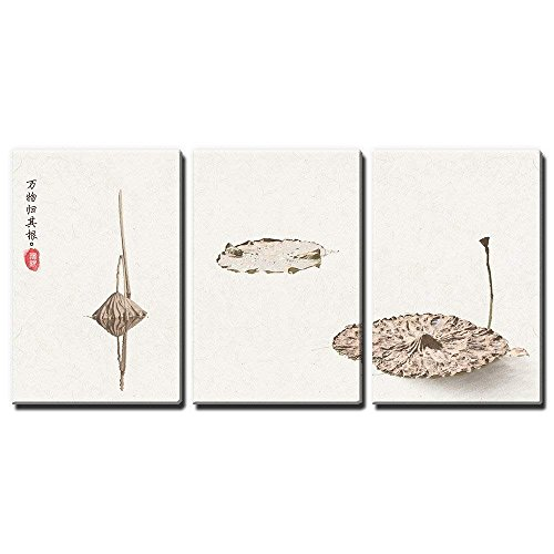 wall26-3 Panel Canvas Wall Art - Minimalism Style Chinese Painting of the Dried Lotus Leaves - Giclee Print Gallery Wrap Modern Home Decor Ready to Hang - 16