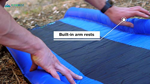 IFORREST Sleeping Pad with Armrest & Pillow – Ultra Comfortable Self-Inflating Foam Air Mattress is Ideal for Travel, Camping & Hiking, Backpacking, Cot, Hammock, Tent & Sleeping Bag!