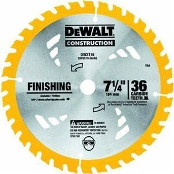 - DEWALT DW3176 Construction Series 7-1/4-Inch 36-Tooth Thin Kerf Finishing Saw Blade with 5/8-Inch Diamond Knockout Arbor