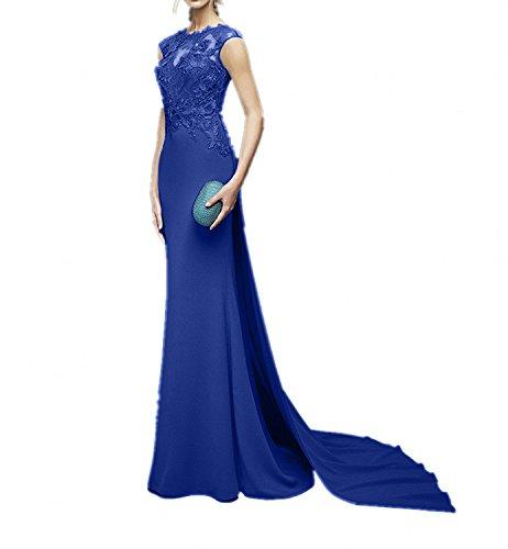 Abendkleider Chiffon Ballkleider U Charmant Bodenlang Partykleider Spitze Ausschnitt mit Schleppe Royal Schmaler Schnitt Blau Blau Damen 1qEEwYf