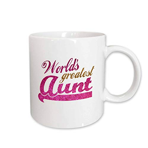 3dRose mug_151285_1 Worlds Greatest Aunt Best Auntie Ever Pink and Gold Text Faux Sparkles Matte Glitter-Look Ceramic Mug, 11-Ounce