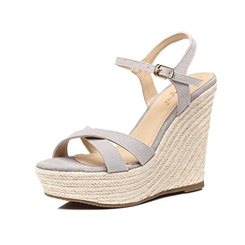 High Dream Toe Sandals Ladies Wedges Open 12cm Sexy Sandals Elegant Gray Comfortable Heels Summer I4Iq1