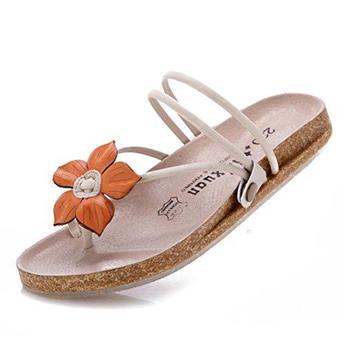 Verano playa zapatillas de moda plana/Antideslizante clip de cuero sandalias de flores de pie A
