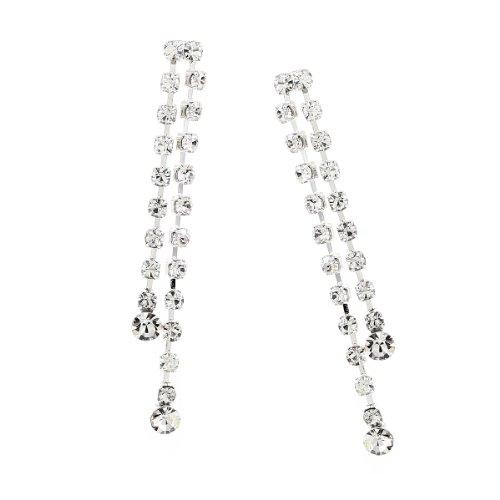 Silver Crystal Rhinestone 2 Strands Dangle Earrings