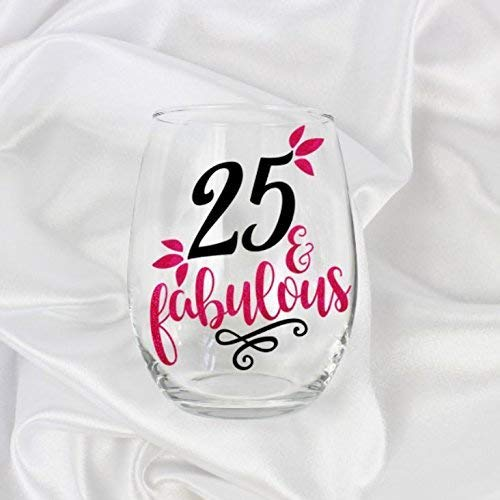 25th Birthday Gifts For Women Stemless Wine Glass Her 21oz 0082