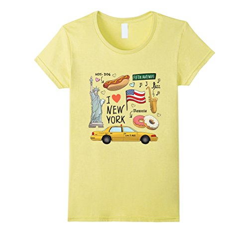 Women's I Love New York Statue of Liberty Hot Dog Jazz USA T-Shirt Large - The New York Americas Avenue Of