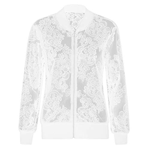 iQKA Womens Plus Size Long Sleeve Lace Blouse Loose Shawl Cardigan Solid Tops Shirt ()