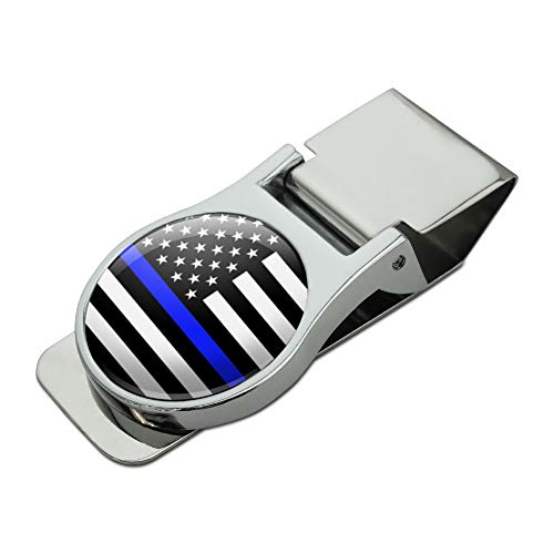 (Thin Blue Line American Flag Satin Chrome Plated Metal Money Clip)