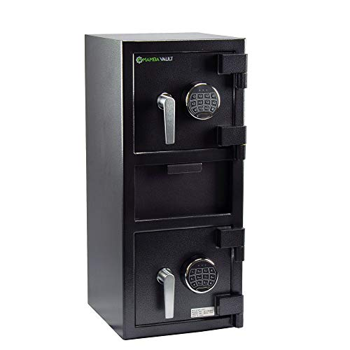 Loading Safe Front Drop - Mamba Vault SD-05EEM Deluxe Dual Door Depository Drop Safe, Front Loading Cash Drop with Electronic Digital Keypad Lock