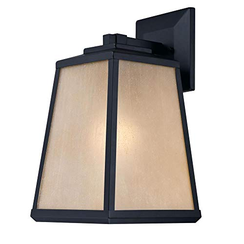 Westinghouse 6359400 Ashdale One-Light, Matte Black Finish with Amber Seeded Glass Outdoor Wall Fixture -