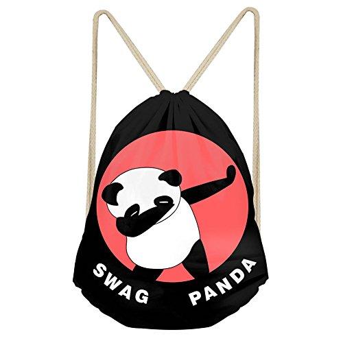 - INSTANTARTS Cute Panda Cinch Drawstring Backpack Shoulder School Bag Beach Gymsack