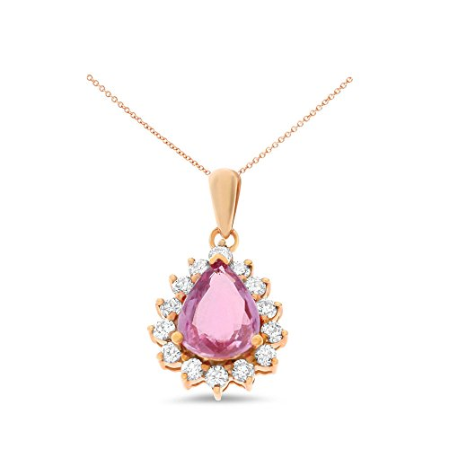 1.76CTW 18K Rose Gold Genuine Natural Pink Sapphire and Diamond Pendant With Square Rolo Chain (18k Gold Pear Shaped Sapphire)