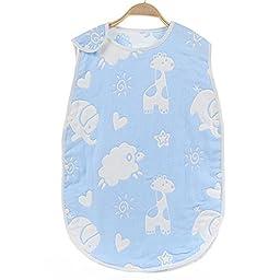 Lucear Baby Sleep Sack,Muslin Blanket,Printed Baby Sleep Bag, Blue, Large