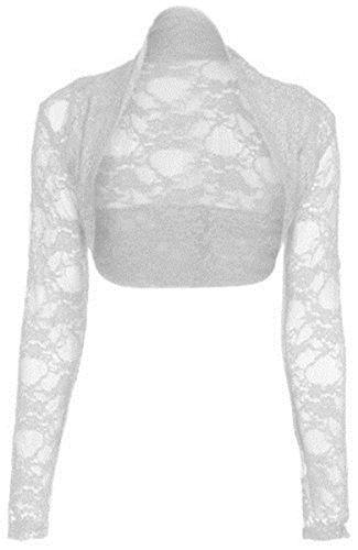 NEW de encaje para mujer de manga larga para Toreras para mujer en la parte superior y boleros chaqueta 8-26 blanco