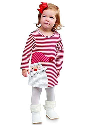 Toddler Baby Girl Xmas Santa Deer Print Dresses Casual Kids Christmas Clothes Outfits (Red, 6T)]()