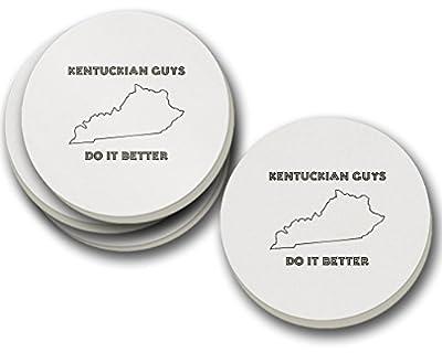 Kentuckian Guys Do It Better Kentucky Sandstone Coasters Round Set of 4
