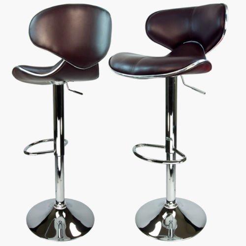 Alitop Set of 2 Brown Modern Adjustable Barstool Swivel Elegant PU Leather