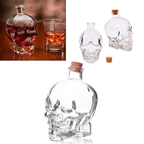 Glass 14Oz Skull Head Decanter Container Flask Jar Vodka Whiskey Tequila Cup Bar (Carr Bar)