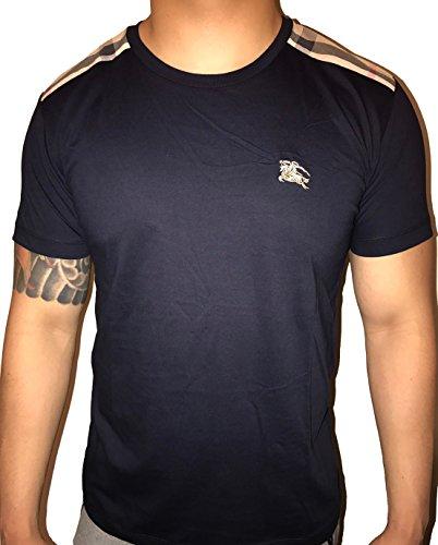 BURBERRY+Brit+Men%27s+short+sleeve+check+shoulder+T-shirt+%28Medium%2C+Dark+Navy%29