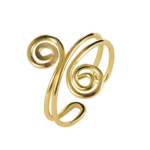 SENFAI Double Swirl Open Copper Adjustable Thumb Ring for Women and Girls (Gold)