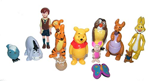 Disney Winnie the Pooh Deluxe Figure Set of 12 with Pooh, Christopher Robin, Piglet, Tiger, Pot of Honey, Kanga, Roo and More!